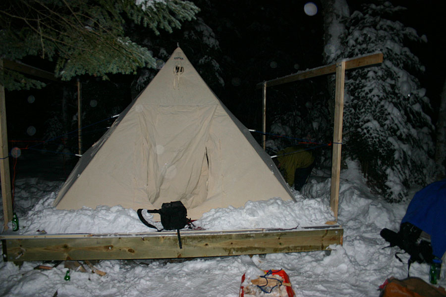 Winter camping isabella mn for Canvas platform tents
